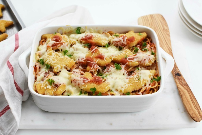Chicken Nugget Baked Spaghetti 1