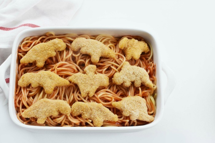 Chicken Nuggets spaghetti and cheese 1