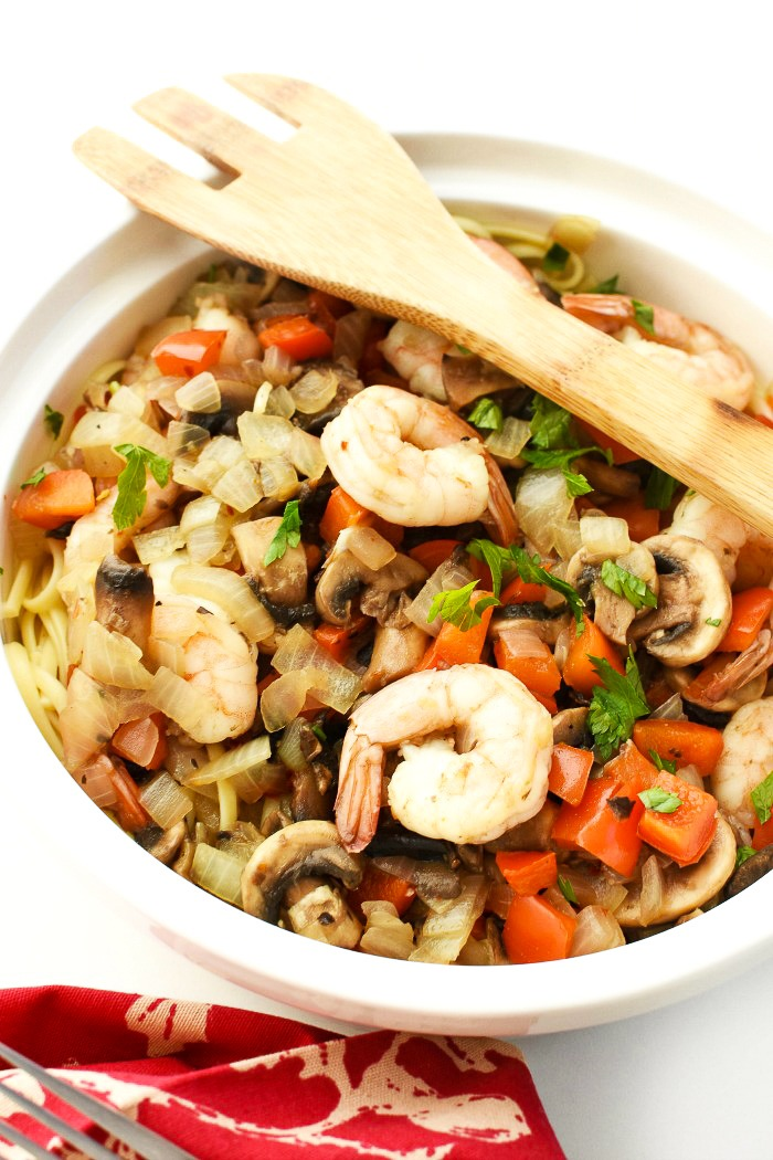 Chinese Style Garlic Shrimp over Pasta