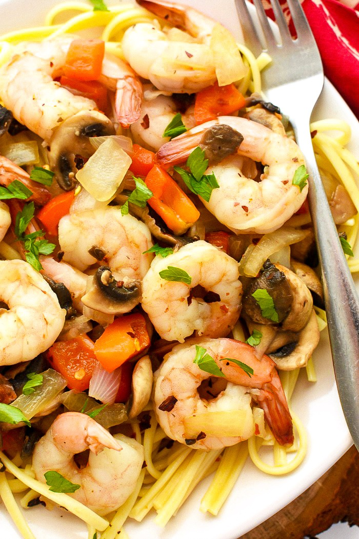 Chinese Style Shrimp with Garlic Sauce pasta