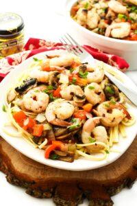 Chinese Style Garlic Shrimp & Veggies Pasta Recipe