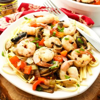 Shrimp with veggies over pasta