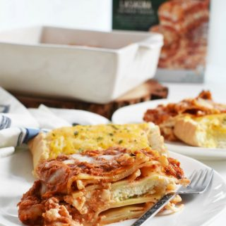 Slice of Lasagna with Garlic Bread 1