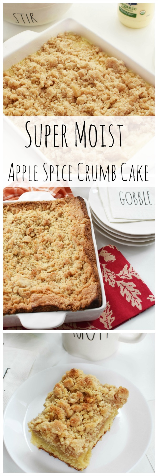 Super Moist Organic Apple Spice Crumb Cake