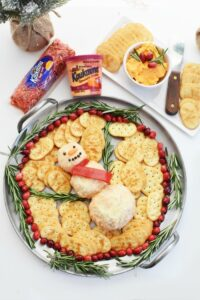 Snowman Kaukauna Cheeseball with Crackers 1