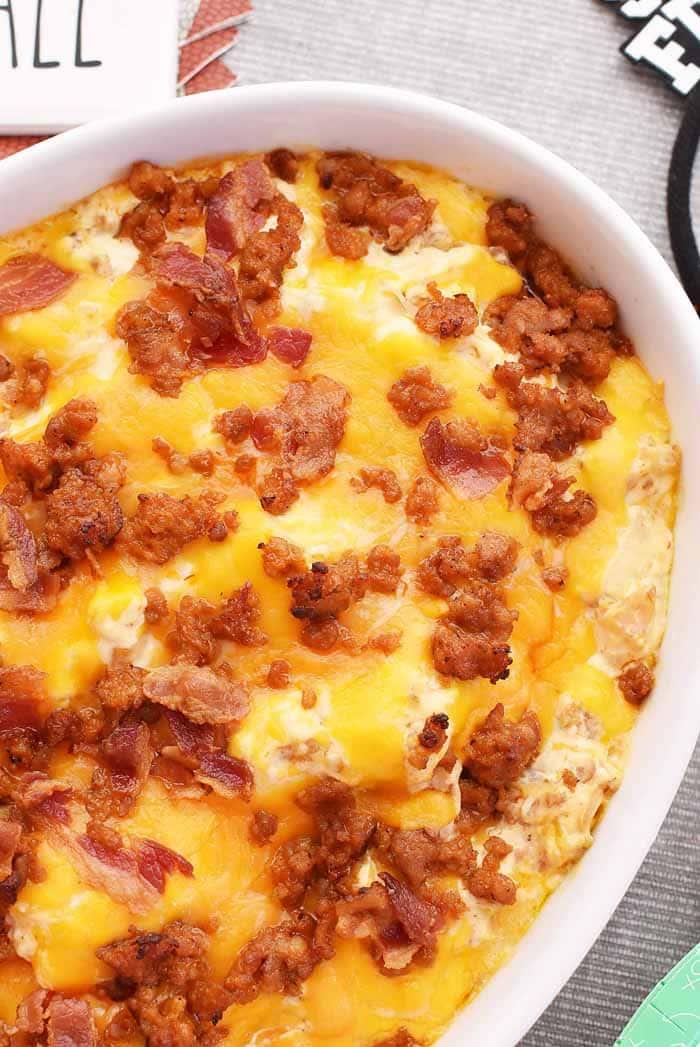 Cheesy Sausage and Bacon Warm dip 1