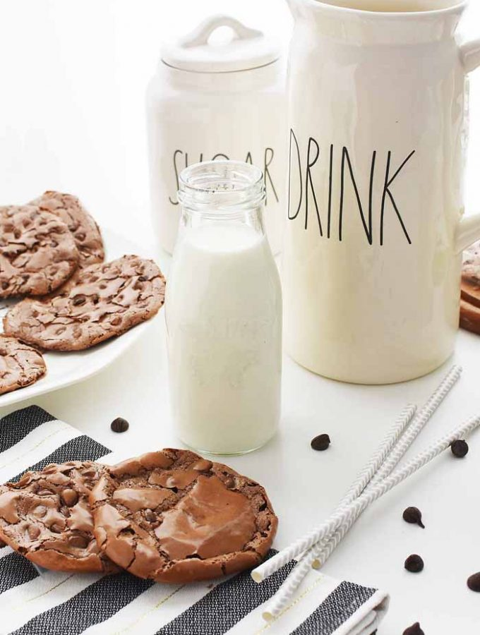 Flourless Chocolate Cookies and Milk