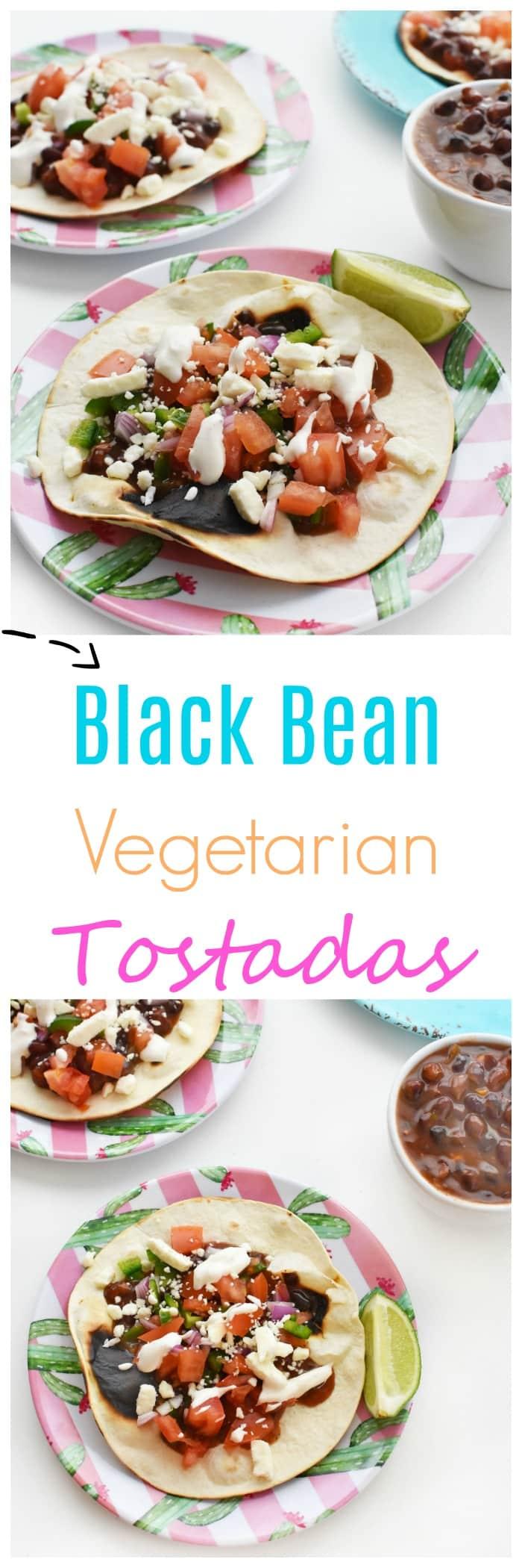 10 Minute Black Bean Tostadas Recipe on cactus plates