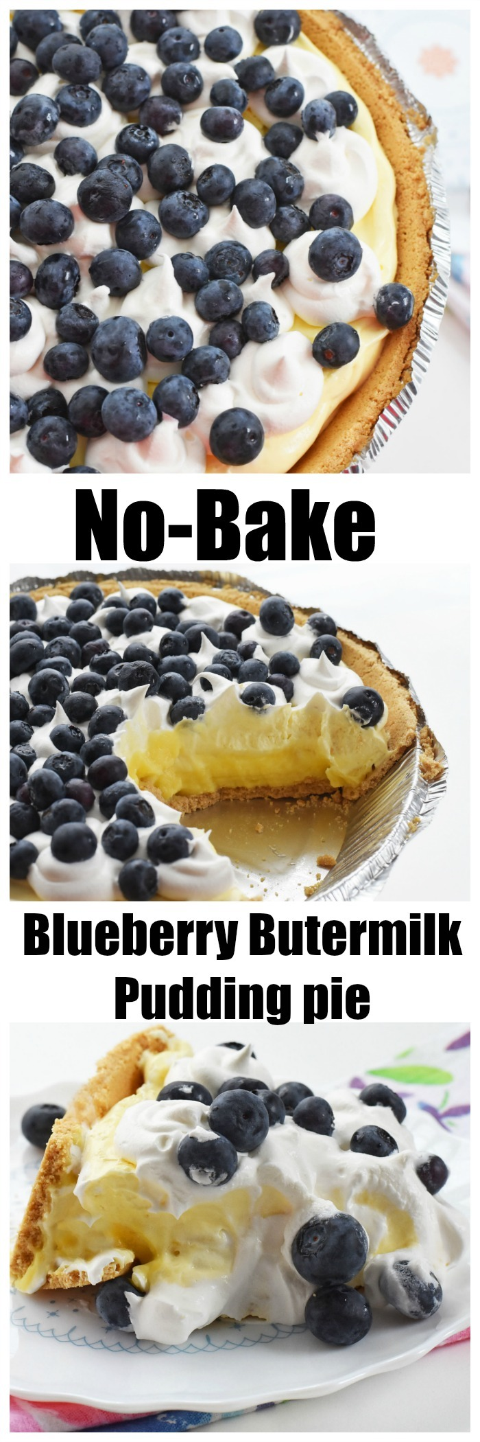 No-Bake Blueberry Pie Pudding Pie Recipe
