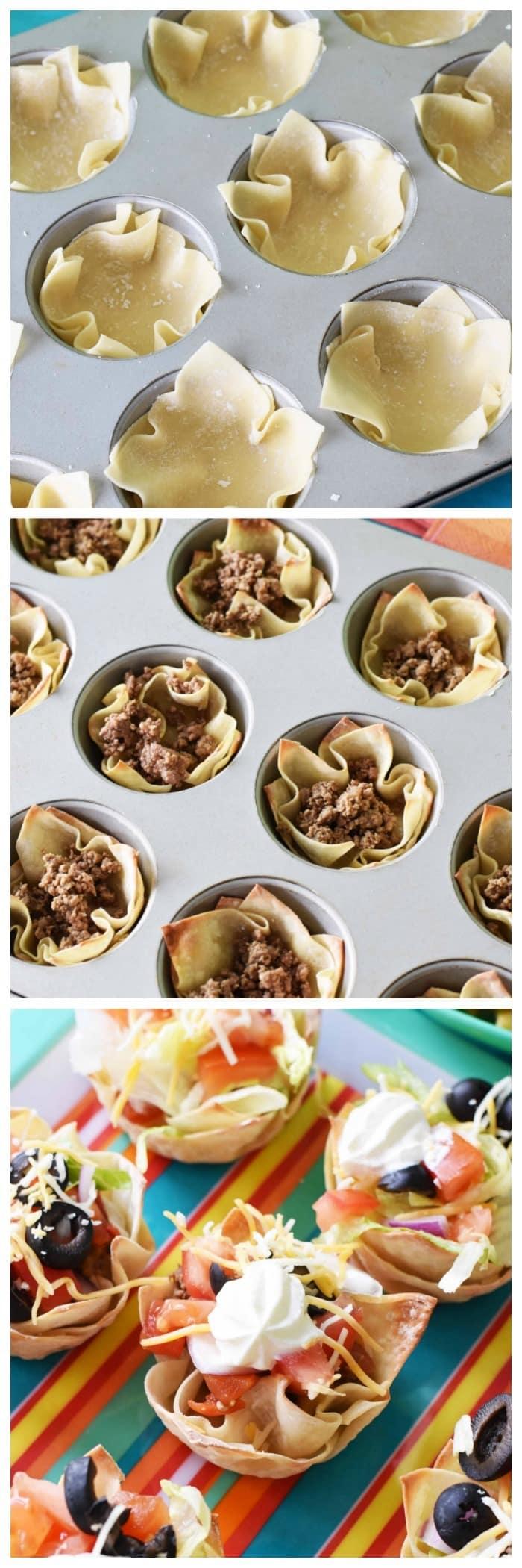 Wonton Taco Cups made in a muffin tin