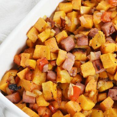 Sweet Potato and Ham breakfast hash recipe 1