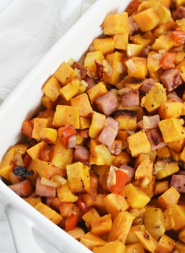 Sweet Potato and Ham breakfast hash recipe 1