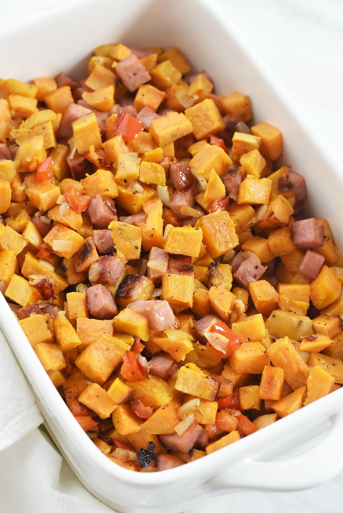 Sweet Potato and ham hash recipe 1