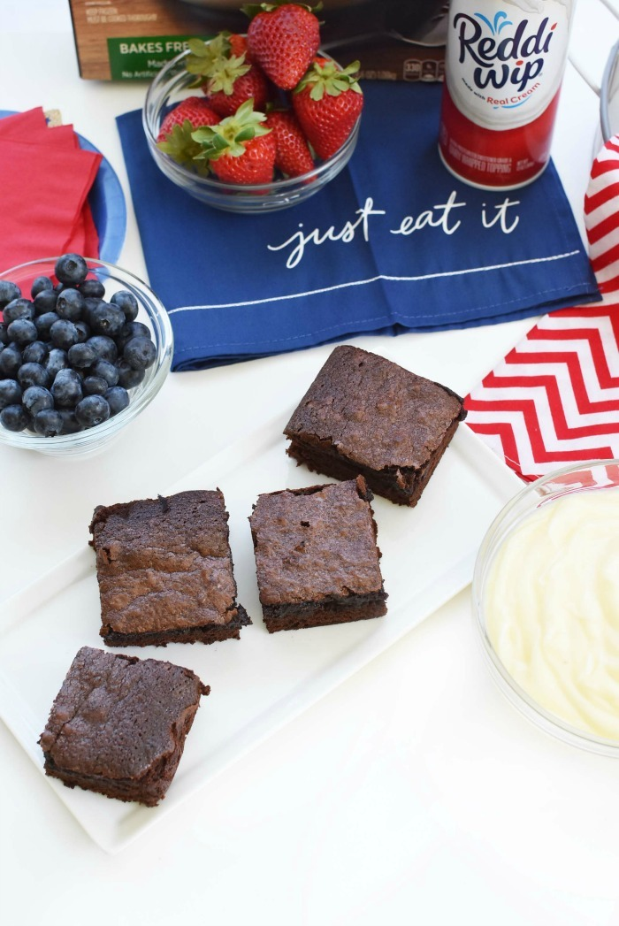 chocolate brownies on table