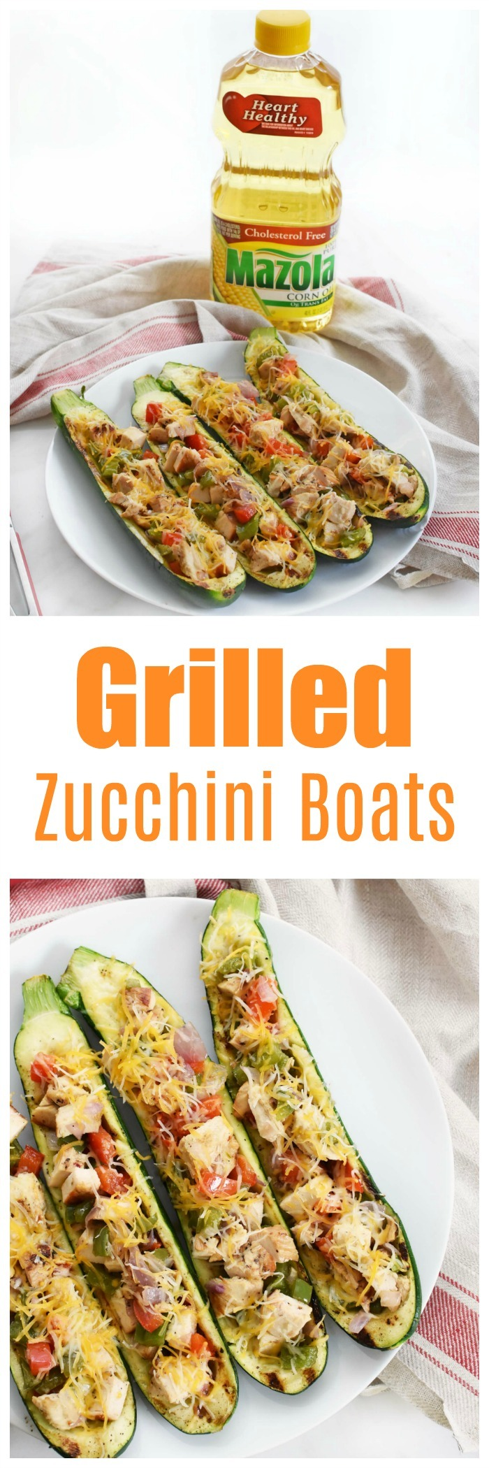 Grilled Zucchini Boats with Chicken & Veggies Recipe