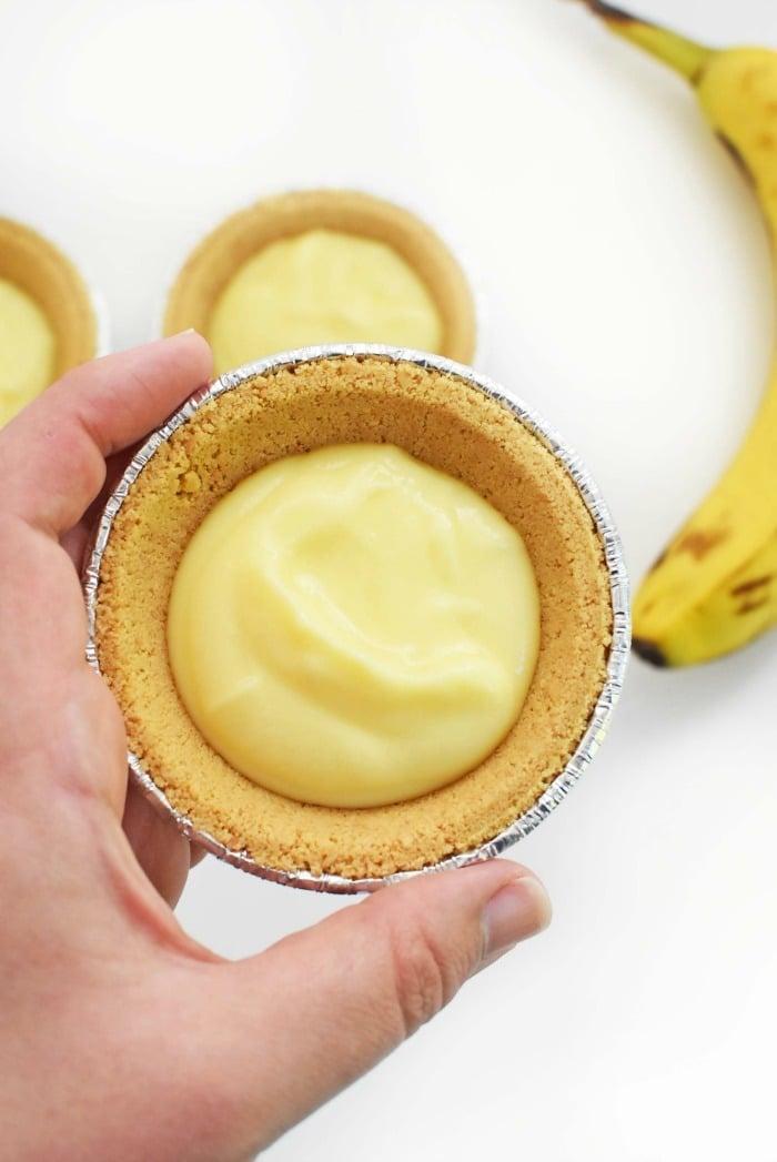 Mini Banana Cream Pies in mini shell