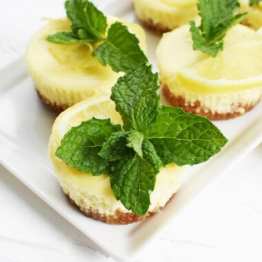 Mini cheesecakes in a muffin tin