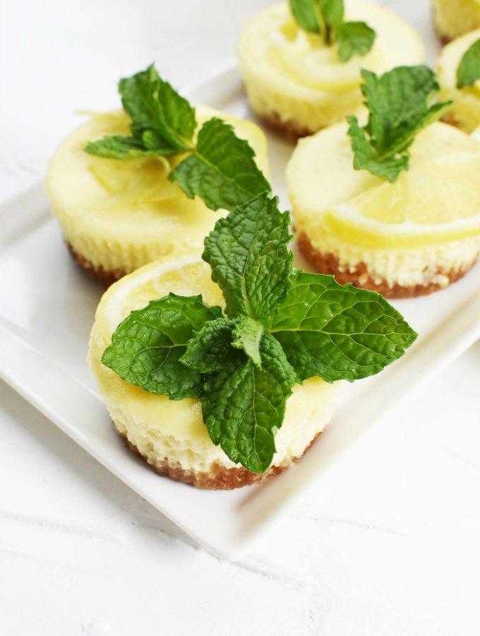 Mini cheesecakes in a muffin tin