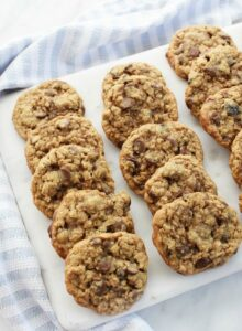 Oatmeal chocolate chip cookies on granite platter