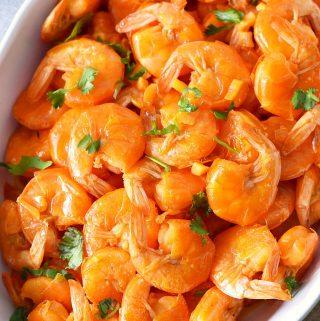 Portuguese Shrimp Mozambique in white bowl