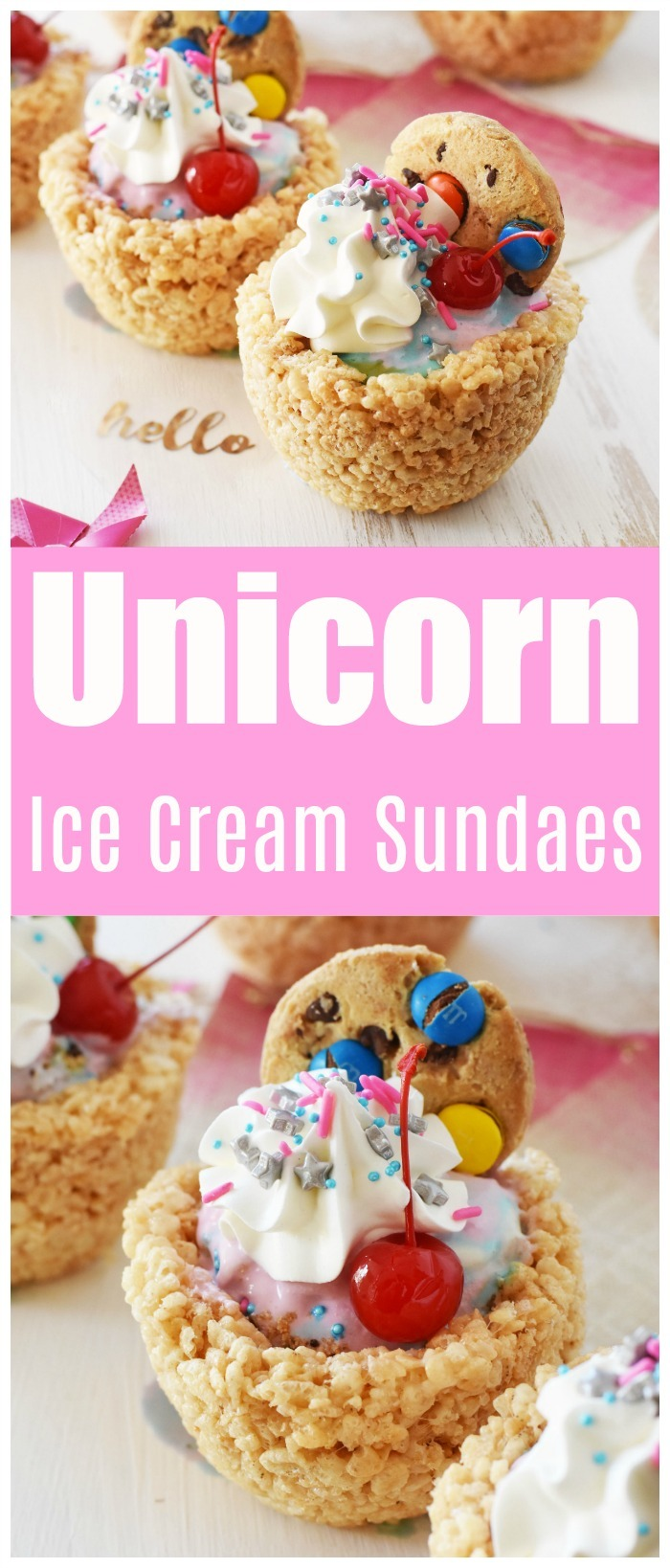 Unicorn Sundaes in Rice Cereal Bowls