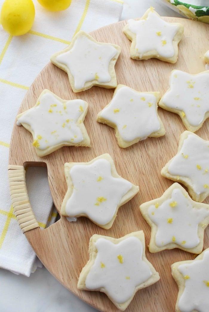 Lemon Shortbread Iced Cookies