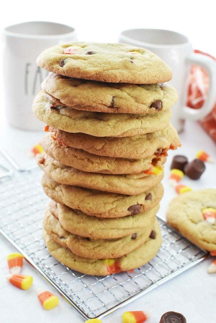 Candy Corn Caramel Cookies