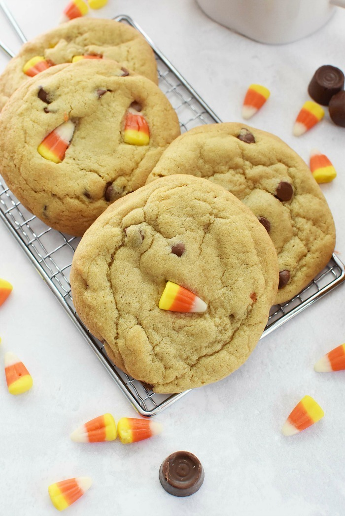 Candy Corn Chocolate Chip Caramel cookies