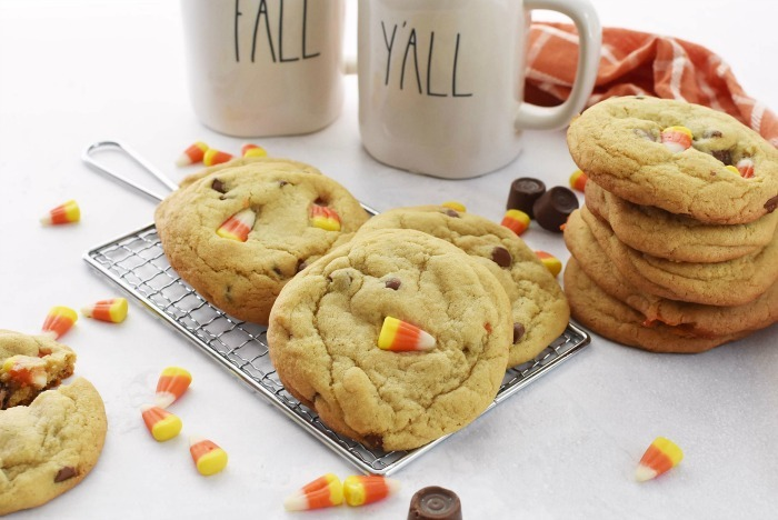 Caramel Stuffed Candy Corn Cookies