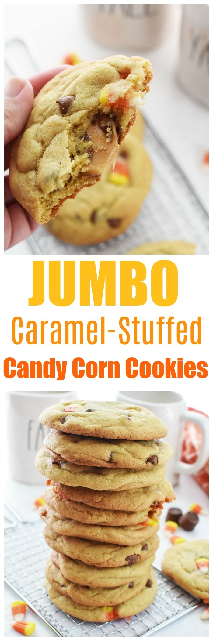 Caramel Stuffed Candy Corn Cookies