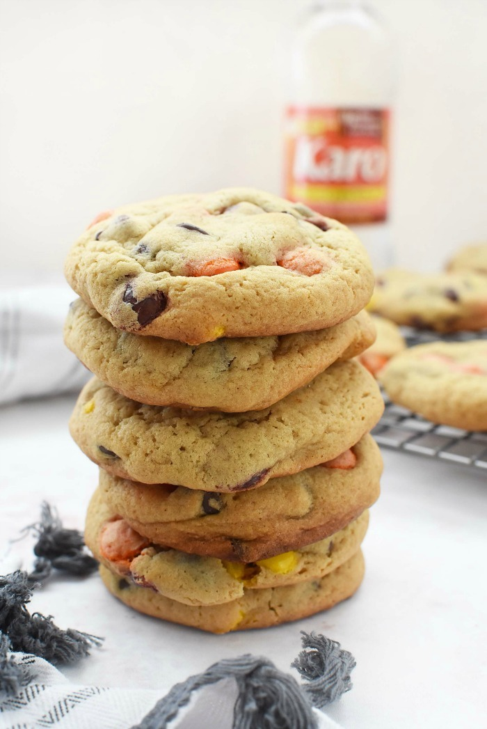 Chewy peanut butter and chocolate chip cookies