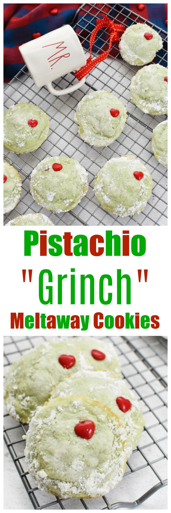 Pistachio Meltaway Cookies Grinch Style