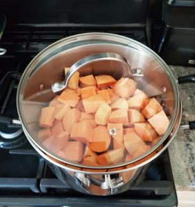 Steaming Sweet Potatoes