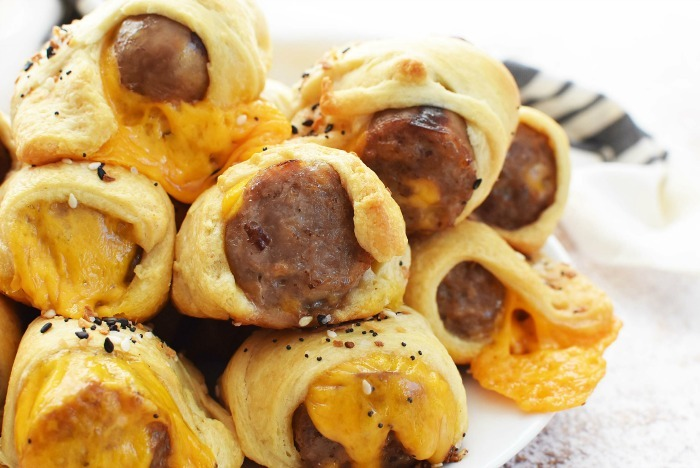 Brats wrapped in crescent dough