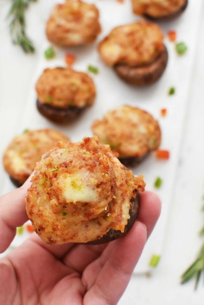 Cheesy & Sausage Stuffed Mushrooms