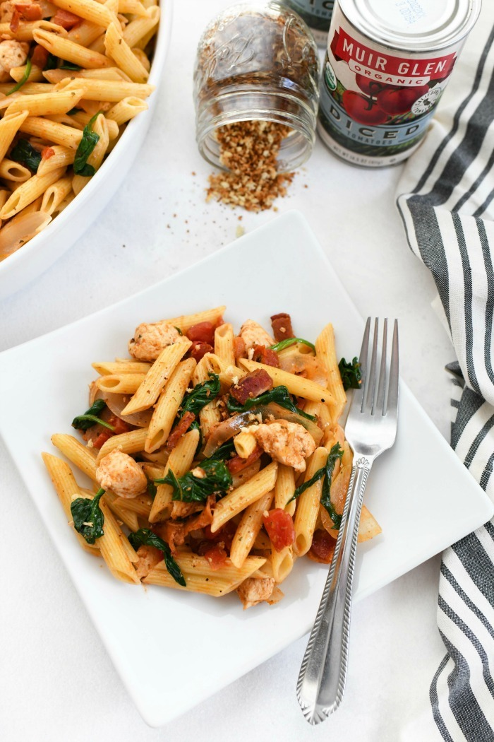 Onion Tomato Spinach Pasta 1
