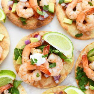 Shrimp baked tostadas