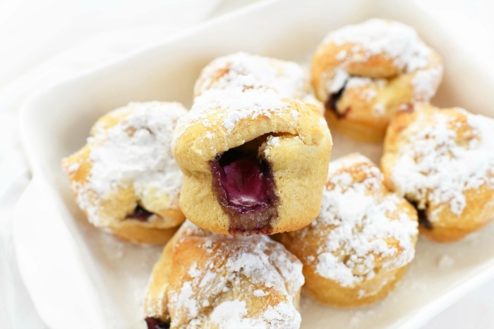 Blueberry Crescent Bombs in white dish