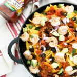 Shrimp Salsa Nachos in Cast Iron Pan