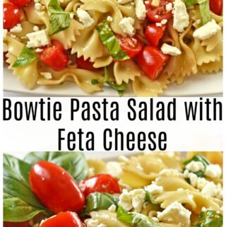 Bowtie pasta salad on white plate