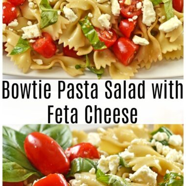 Bowtie pasta salad on white plate
