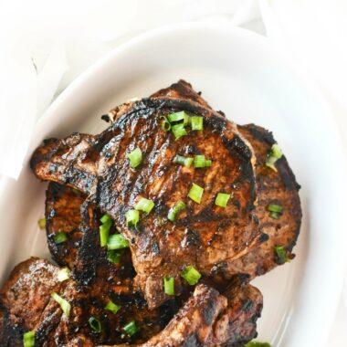 Asian pork chops marinade white dish