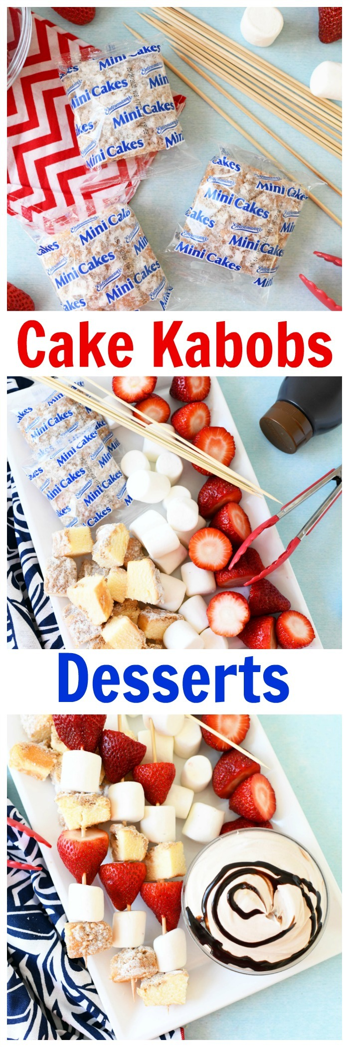 Fruit & Cake Kabobs with Chocolate Fluff Dip