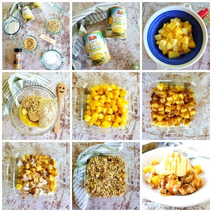 Grid of process shots to make pineapple crisp