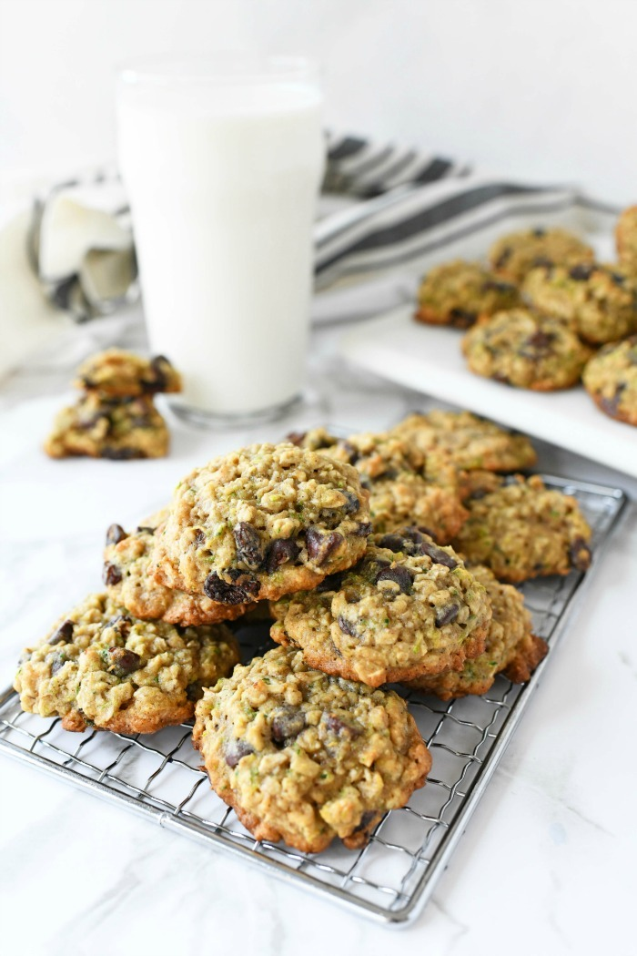 Oatmeal Chocolate Chip Cookies with Zucchini on a baking sheet.