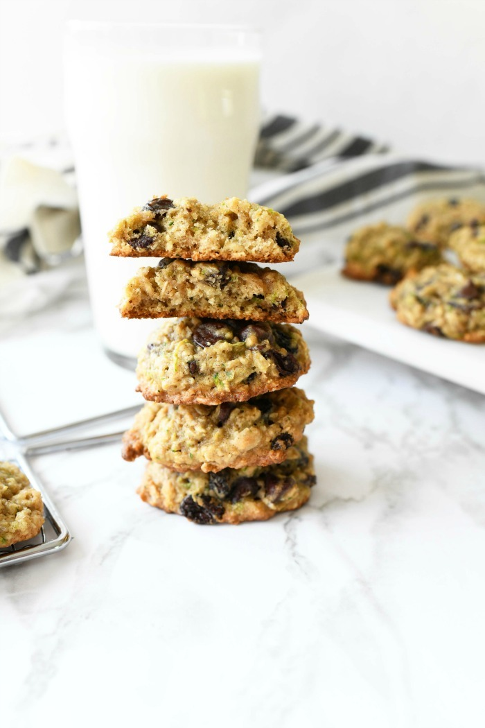 Zucchini Oatmeal Chip Cookies inside, warm and gooey.