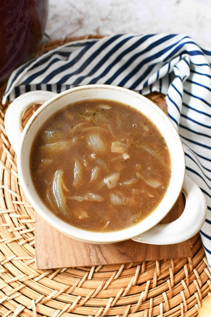 French onion soup in bowl.