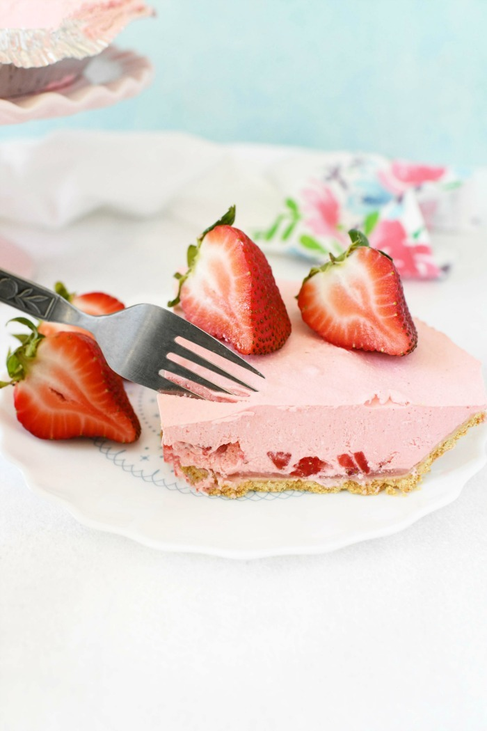 Strawberry Gelatin Cool Whip Pie with fork.