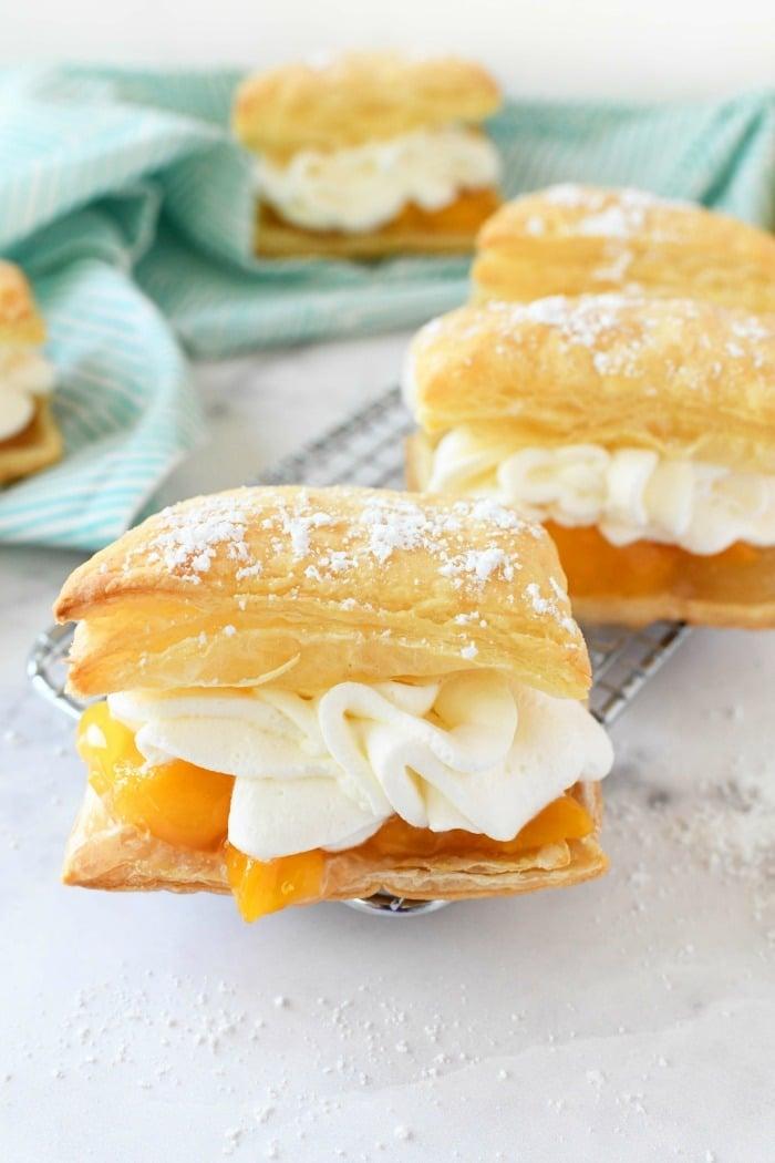 Peaches & Cream Squares on baking rack.