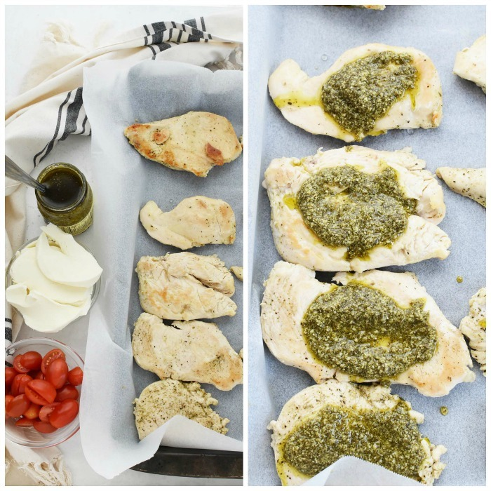 Pesto Baked Chicken on baking dish